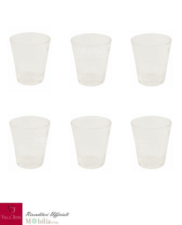 Set 6 Bicchieri Acqua Vetro Bianco Cancun Villa d'Este