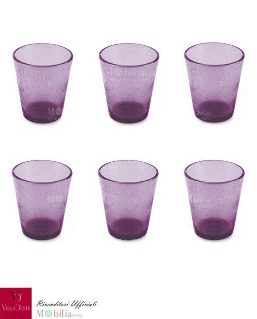 Set 6 Bicchieri Acqua Vetro Viola Rosa Cancun Villa d'Este