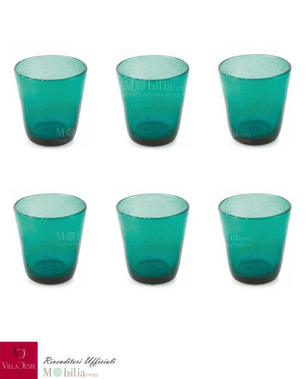Set 6 Bicchieri Acqua Vetro Verde Cancun Villa d'Este