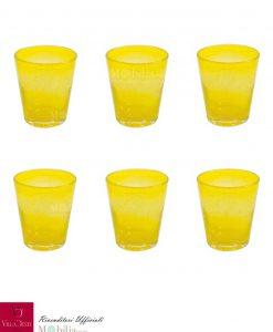 Bicchieri Acqua Vetro Set 6 Pezzi Gialli Cancun Villa d'Este