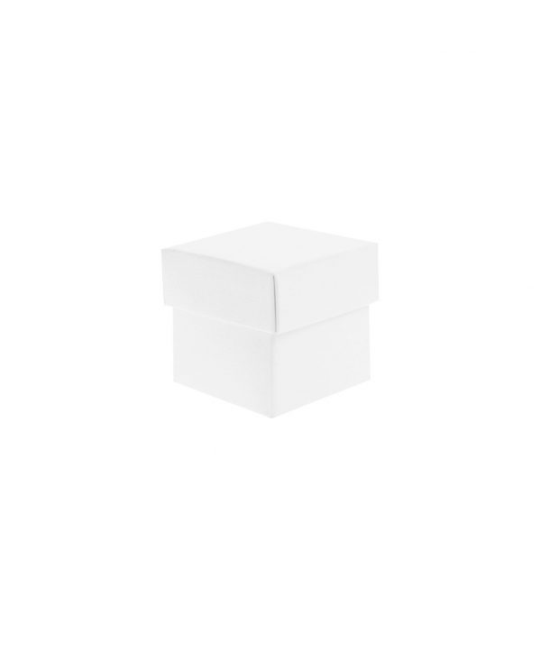 Scatole per Bomboniere Bianche Quadrate Pieghevoli con Coperchio