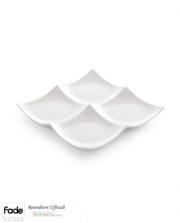 Antipastiera Quadrata Porcellana Bianca Fade