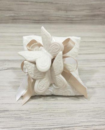 Portaconfetti Cuscino con Farfalle magneti Shabby Chic
