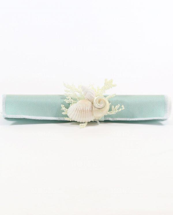 Partecipazione pergamena tessuto Tiffany con conchiglie Rdm