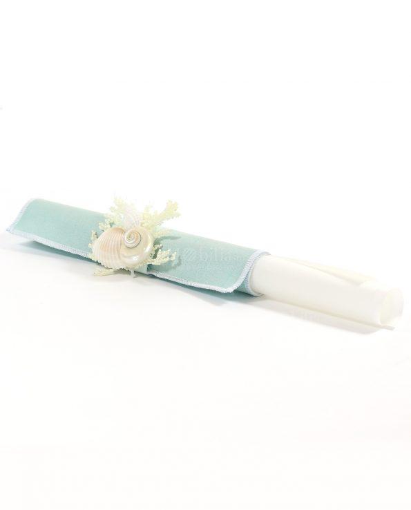 Inviti Matrimanio Pergamena con Conchiglie e Tessuto Tiffany Rdm