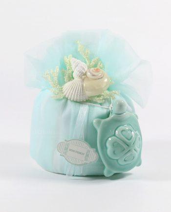 Sacchetti Bomboniere Matrimonio con confetti e Tartaruga Rdm-Sacchetti con Tartaruga Marina Capodimonte Conchiglie e Confetti