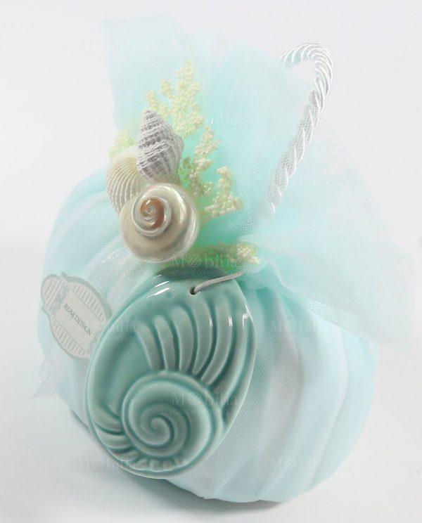 Sacchetti Matrimonio con confetti e Conchiglia Tiffany Rdm Design