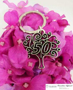 Portachiavi albero della vita con numero 50