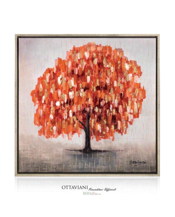 Dipinti Moderni con Albero Rosso e Pioggia Oro Ottaviani