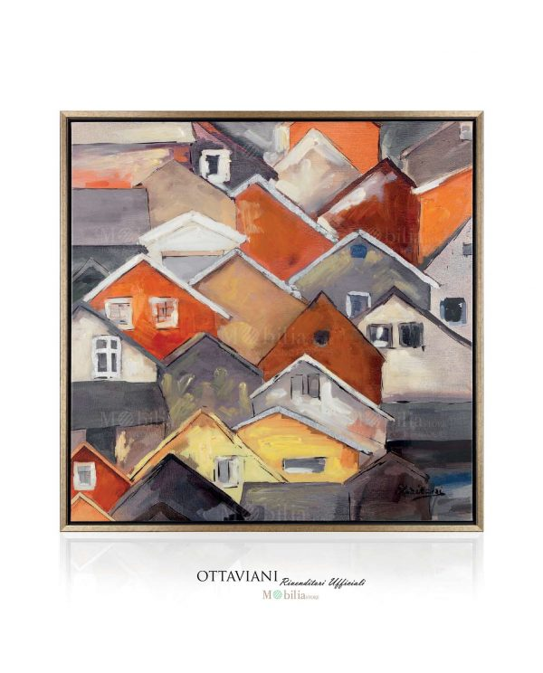 Quadri Astratti Moderni Paesaggio con Case Ottaviani