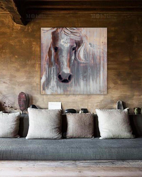 Quadri Moderni su Legno Cavallo Bianco Ottaviani