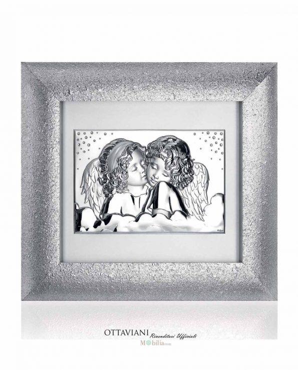 Quadri Moderni Due Angeli Argento con Cornice Ottaviani