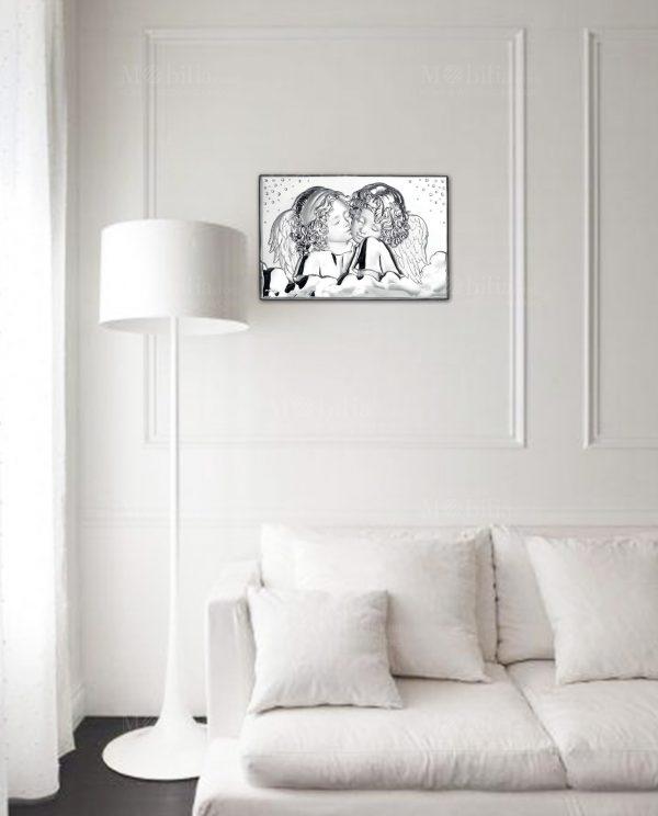 Quadro Pannello Argento Due Angeli con Cristalli Ottaviani
