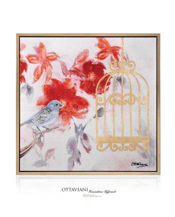 Quadri Dipinti Libertà Uccellino con Gabbia d'Oro Ottaviani