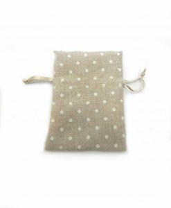 Sacchetti Portaconfetti Cotone beige con Pois Bianchi