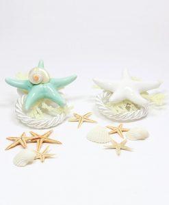 Segnaposto con stella marina Ceramica con confetti e cordoncino bianco rdm