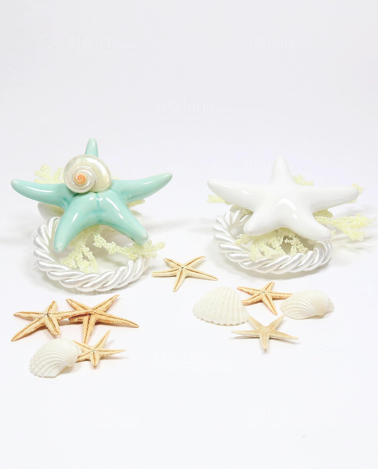 Segnaposto Tondo con stella marina azzurra e stella marina bianca