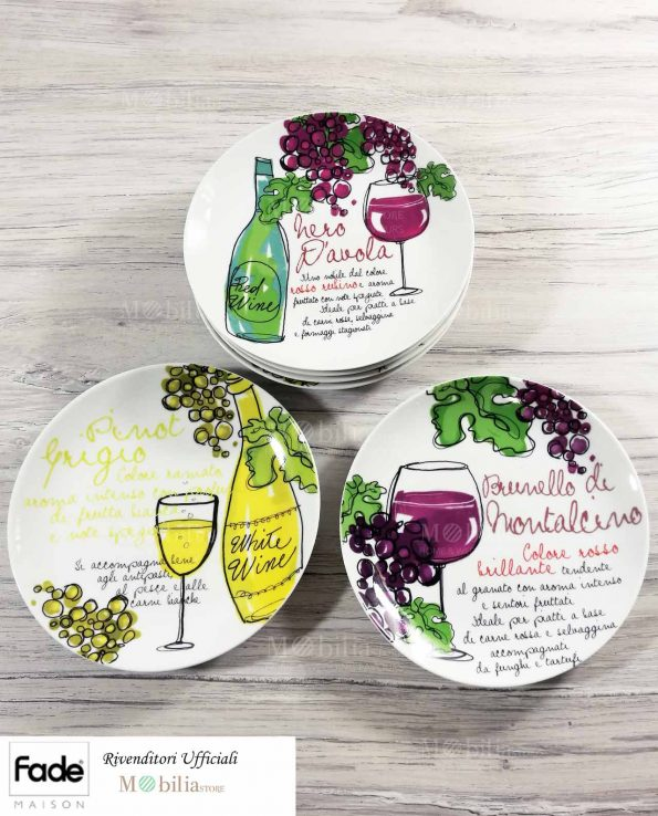 Piatti Colorati Porcellana per Aperitivo con Formaggio e Vino
