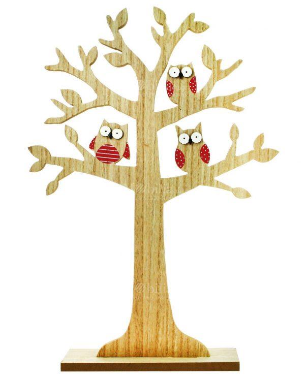 Tableau Albero della Vita Legno con 3 Gufi