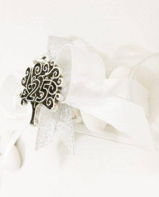 bomboniera 25 anniversario con ciondolo albero della vita argento