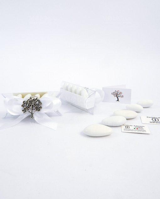 bomboniera albero della vita argento con quadrifoglio tabor