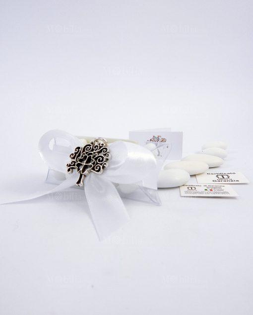 bomboniera albero della vita con quadrifoglio argento tabor