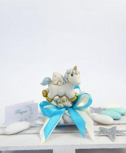 bomboniera battesimo unicorno azzurro