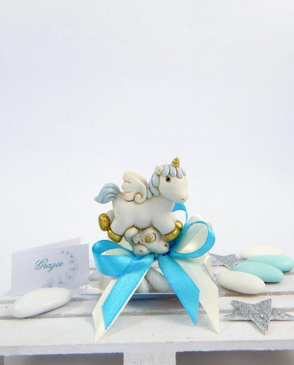 bomboniera unicorno azzurro da appoggio su tubicino