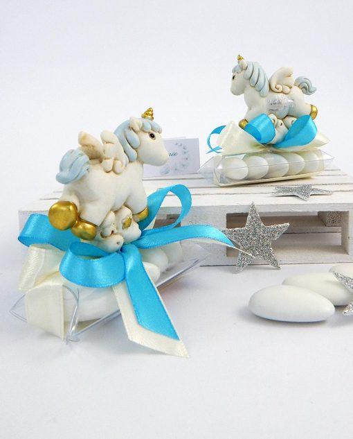 bomboniera battesimo unicorno azzurro ad emozioni