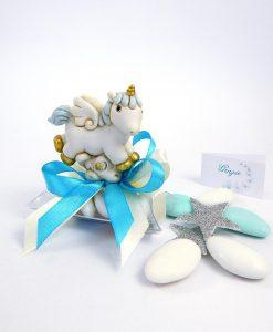 bomboniera battesimo unicorno cavalluccio azzurro