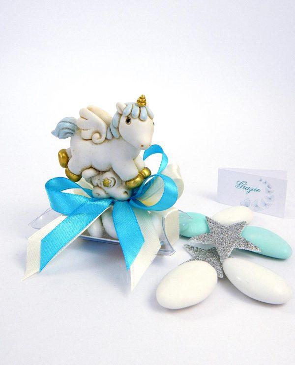 bomboniera unicorno cavalluccio azzurro su tubicino