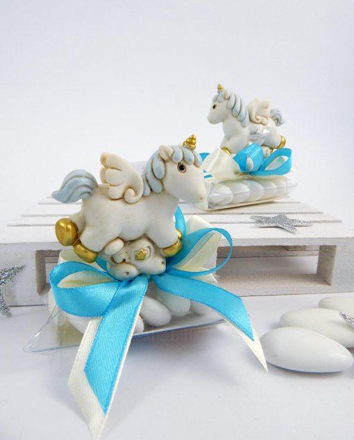 bomboniera cavalluccio unicorno azzurro ad emozioni linea pegaso