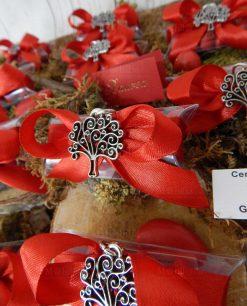 bomboniera ciondolo albero della vita argento tabor su tubicino con confetti
