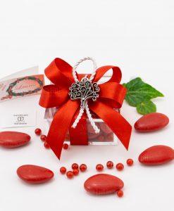 bomboniera ciondolo albero della vita microfusione placcato argento tabor su scatolina trasparente con fiocco a 4 rosso e cordoncino