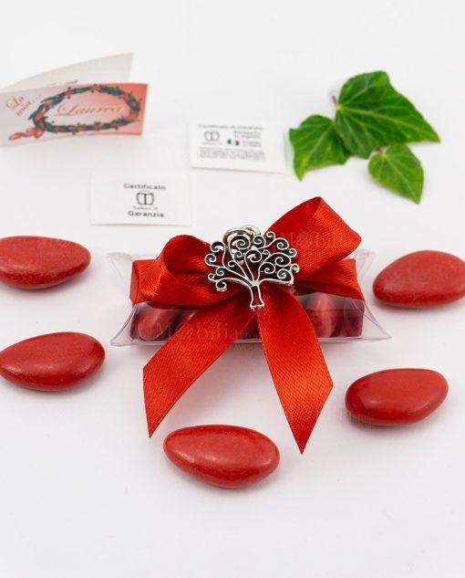 bomboniera ciondolo albero della vita microfusione placcato argento tabor su tubicino fiocco e confetti rossi