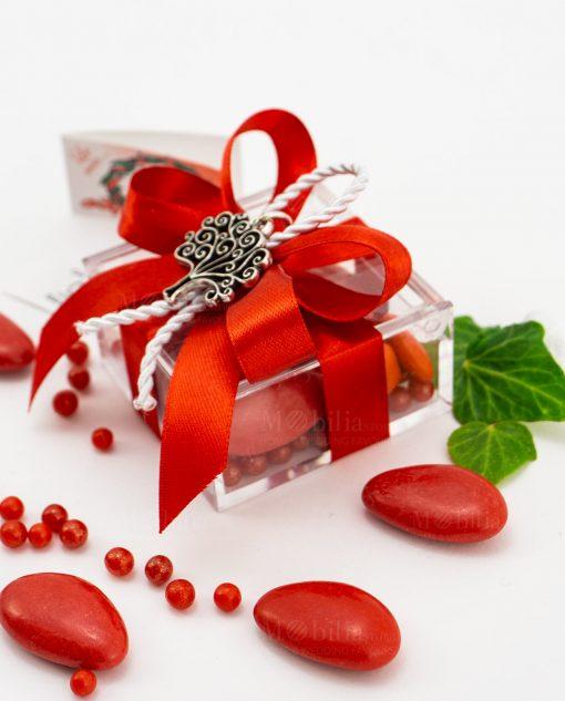 bomboniera ciondolo albero della vita microfusione tabor su scatolina fiocco a 4 rosso e cordoncino