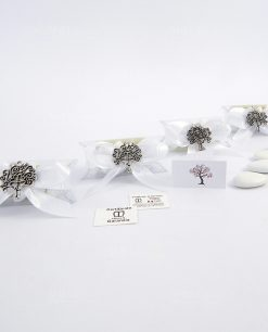 bomboniera ciondolo albero della vita quadrifoglio argento