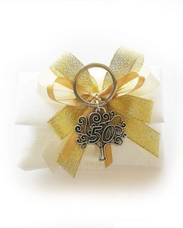 sacchettino bustina con nastri oro e portachiavi albero della vita con 50 tabor