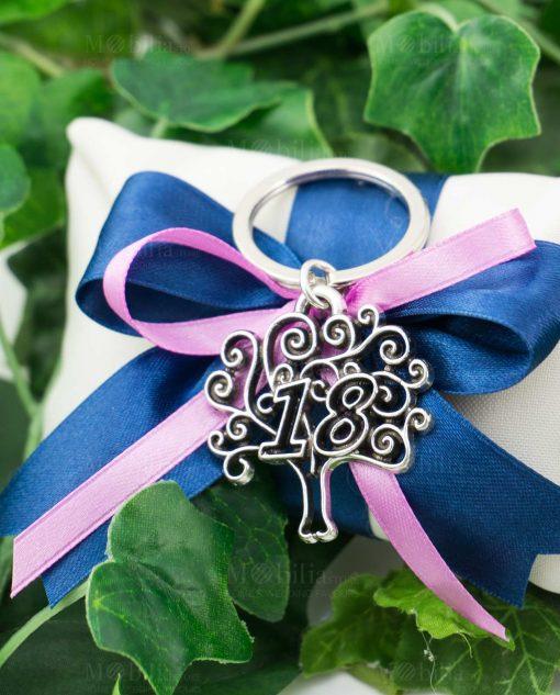bomboniera portachiave 18 con albero della vita tabor argento su fiocco blu e rosa