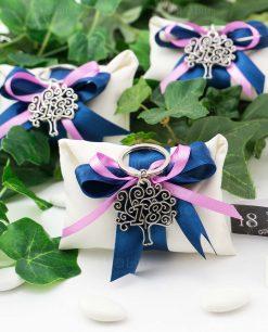 bomboniera portachiave 18 e albero della vita tabor argento su fiocco blu e rosa