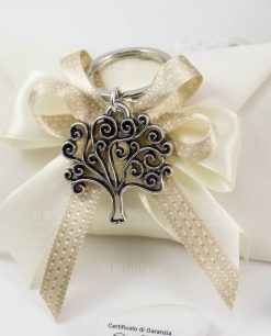 bomboniera portachiave albero della vita tabor argento su sacchetto bustina