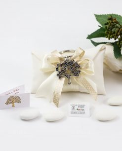 bomboniera portachiave albero della vita tabor argento su sacchetto bustina con fiocco