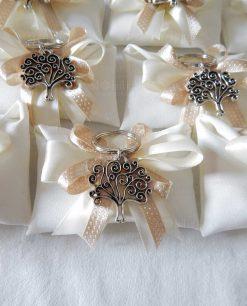 bomboniera portachiave albero della vita tabor su sacchetto bustina con doppi fiocchi