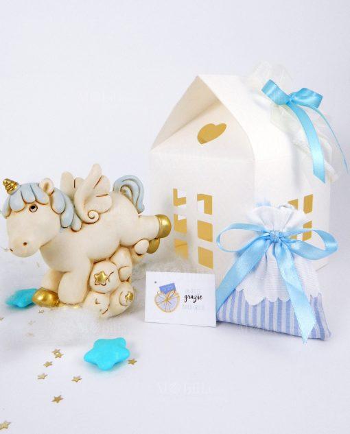 bomboniera salvadanaio unicorno azzurro e oro con scatola casetta bianca
