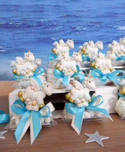 bomboniere battesimo cavalluccio unicorno azzurro