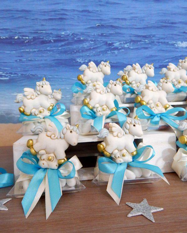bomboniere cavalluccio unicorno azzurro su tubicino