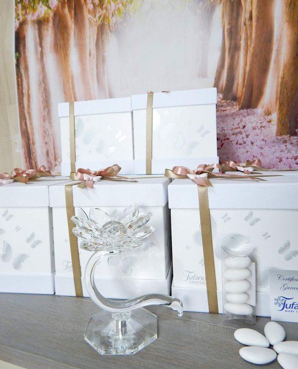 portacandele fiore di loto cristallo swarovski tufano con scatola e nastri tortora e rosa con farfalle gesso bianco