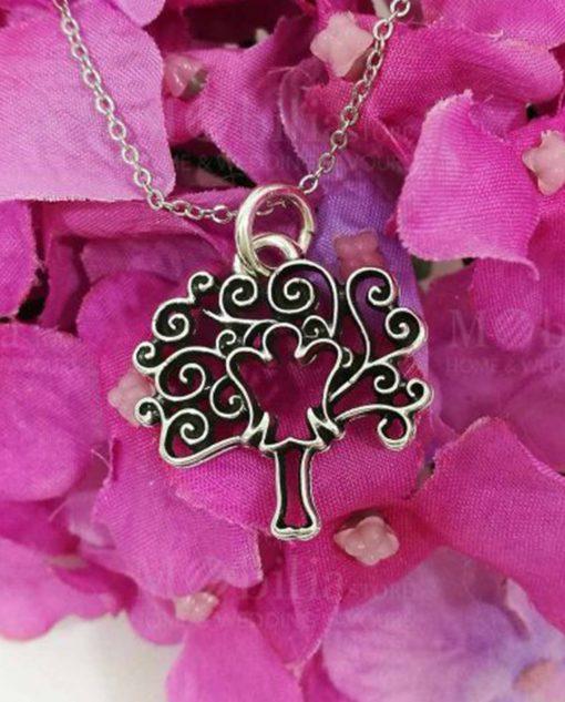 ciondolo albero della vita argento con angelo tabor