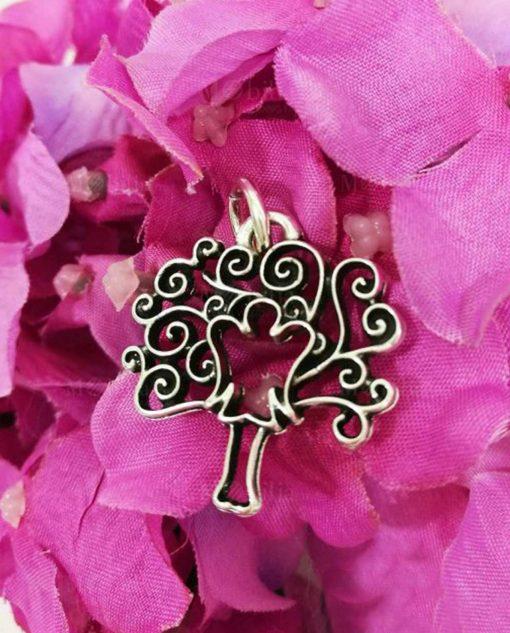 ciondolo albero della vita con angelo in argento tabor