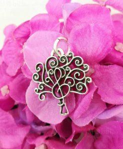 ciondolo argento albero della vita e chiave di violino tabor